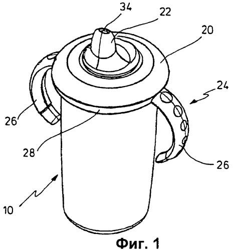 Запорная система для детской бутылочки для питья или детской чашки-поильника