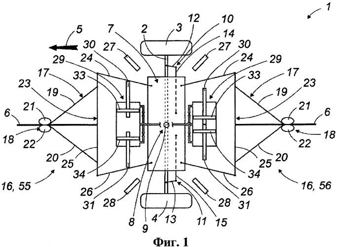 Система управления двустороннего действия с ограничением бокового отклонения для оси транспортного средства, управляемого посредством установленного на основании рельса
