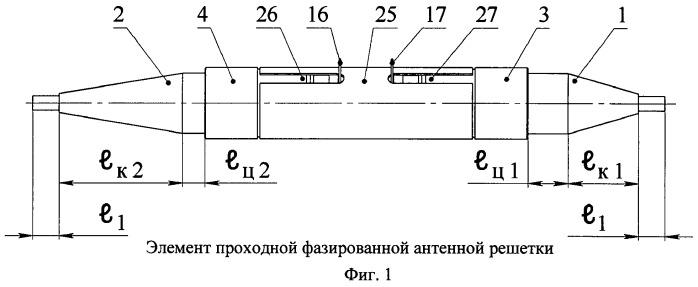 Элемент проходной фазированной антенной решетки