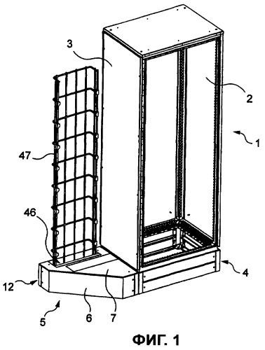 Шкаф для электрической аппаратуры, содержащий основание с люком для ввода кабелей