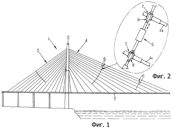 Способ демпфирования колебаний вант и соответствующая система