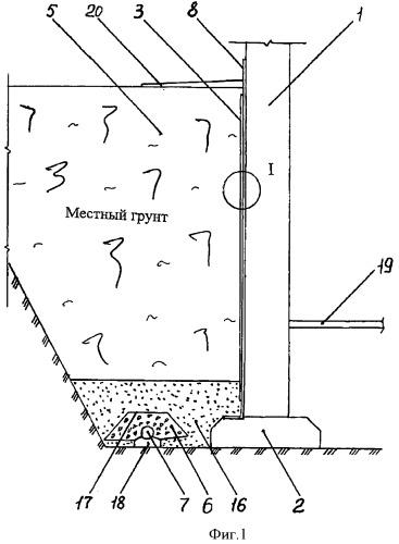 Подземная часть бетонной стены с пристенным дренажом
