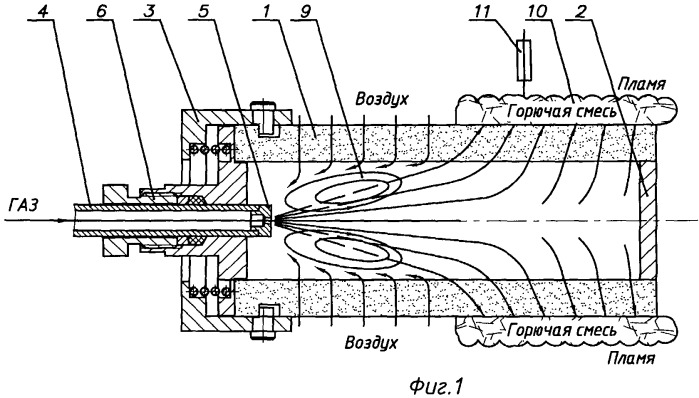 Радиационная газовая горелка и способ проведения процесса горения в ней