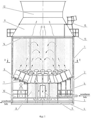 Конструкция эжекционной градирни и способ организации процесса тепломассообмена