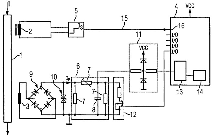 Устройство для контроля процессов утечки в проводнике системы среднего или высокого напряжения