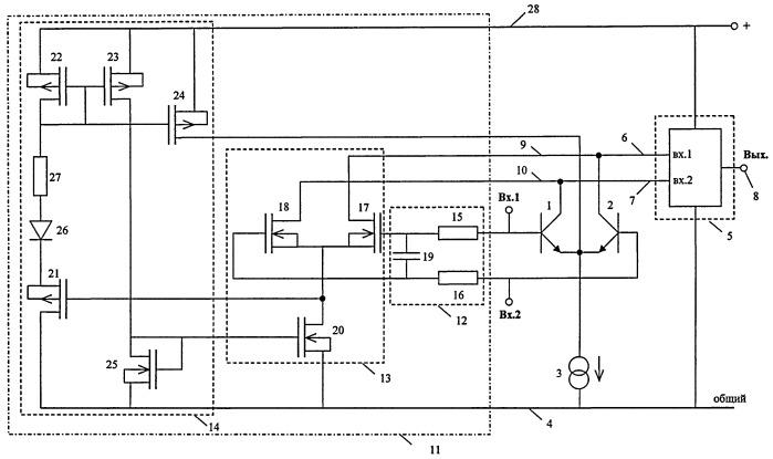 Широкополосный дифференциальный усилитель с устройством коррекции электротермической связи в биполярных транзисторах