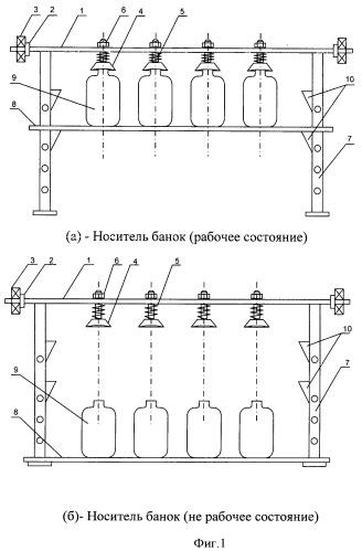 Носитель стеклянных банок для стерилизаторов открытого типа