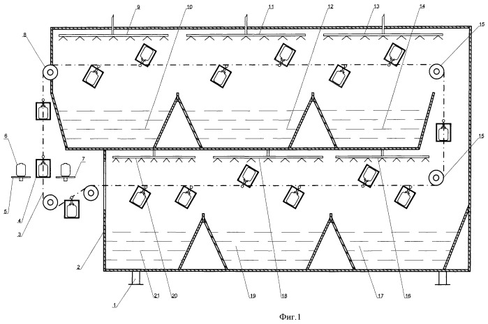 Аппарат оросительного типа для ступенчатой ротационной стерилизации консервов