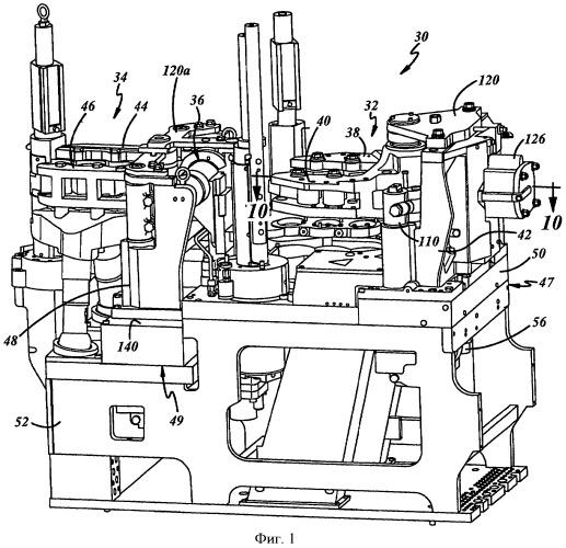Устройство для открытия и закрытия литейных форм в стеклоформующей машине