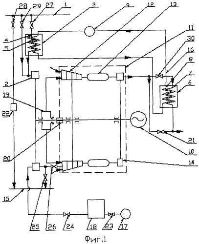 Комбинированная газотурбодетандерная установка для работы на природном газе