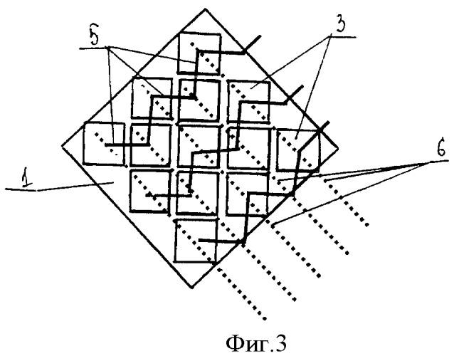 Схема соединения квадратных знакосинтезирующих элементов на ромбовидном экране