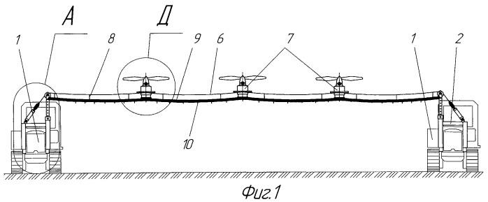 Устройство с летательными аппаратами для поверхностного внесения жидких растворов