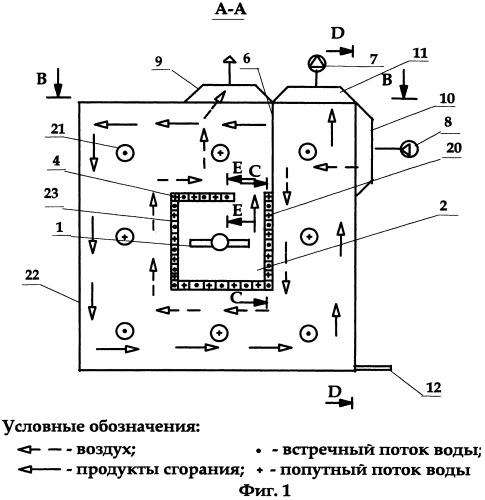 Теплоутилизатор для автономного воздушного отопления и горячего водоснабжения при сжигании природного газа