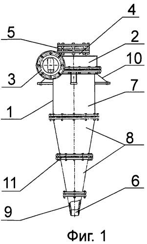 Гидроциклон системы фракционного разделения суспензий руд тонкого помола