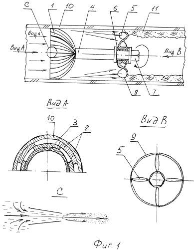 Гидробародинамическое устройство комбинированной очистки внутренней поверхности трубопроводов