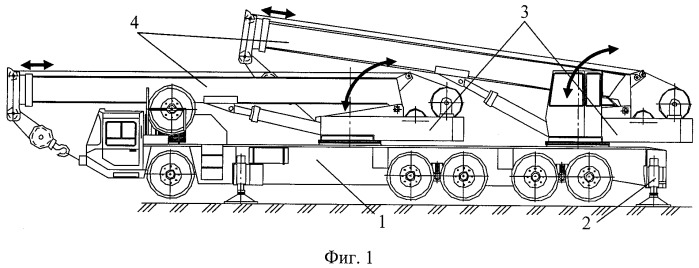 Самоходный двухстреловой кран