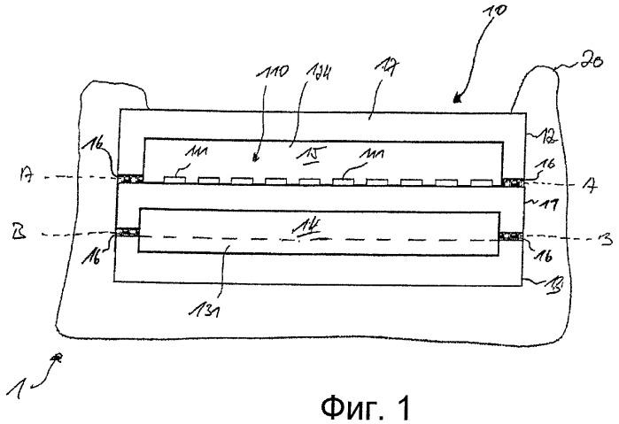 Устройство, содержащее слоеную конструкцию, для обнаружения теплового излучения, способ его изготовления и использования