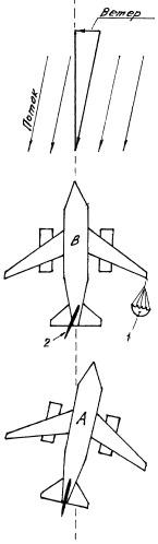 Способ посадки самолета при боковом ветре и устройство для его осуществления