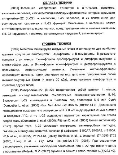 Антитела к il-22 человека и их применение
