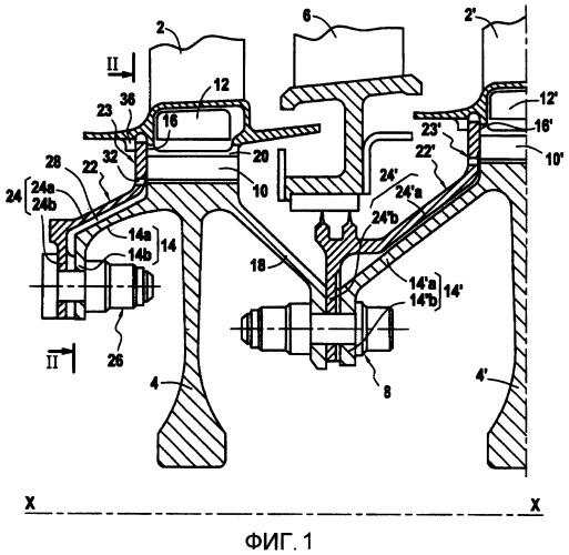 Устройство для охлаждения пазов диска ротора в турбомашине, имеющее два потока подаваемого воздуха