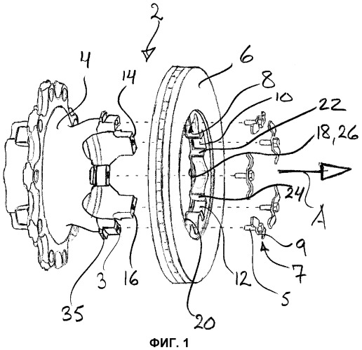 Система, содержащая узел ступицы и тормозной диск
