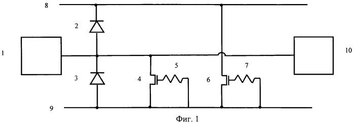 Устройство защиты от разрядов статического электричества выводов комплементарных моп (металл-окисел-полупроводник) интегральных схем на кнс (кремний на сапфире), кни (кремний на изоляторе) структурах
