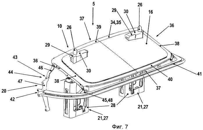 Автомобиль с подвижной крышей и выдвижным элементом защиты при опрокидывании автомобиля