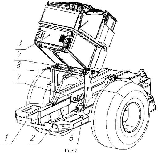 Механизм наклона кабины лесопромышленного трактора колесного типа