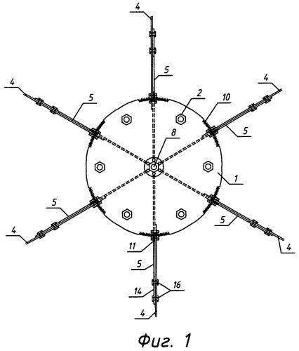 Узловое соединение стержней пространственной конструкции