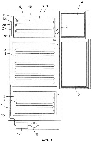 Холодильный аппарат с тремя температурными зонами