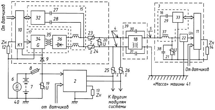 Устройство для передачи энергии и данных по однопроводной или двухпроводной линии в системе электрооборудования подъёмной или транспортной машины