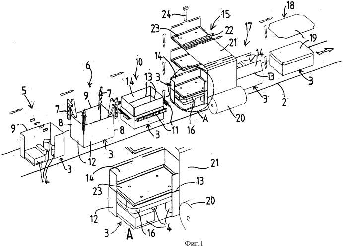 Способ разрезания и закрывания коробок с укладкой надувных мешков и производственная линия для его осуществления
