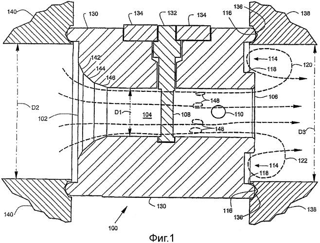 Корпус вихревого расходомера с канавкой на задней поверхности