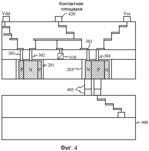 Способ защиты от электростатического разряда в устройстве трехмерной (3-d) многоуровневой интегральной схемы, устройство (3-d) многоуровневой интегральной схемы и способ его изготовления