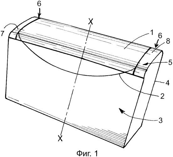 Гибкая упаковка в форме параллелепипеда с ломким участком