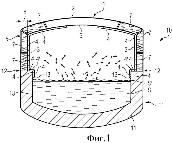 Крышка для печи для приема расплавленного материала, в частности металла, и печь для приема расплавленного материала