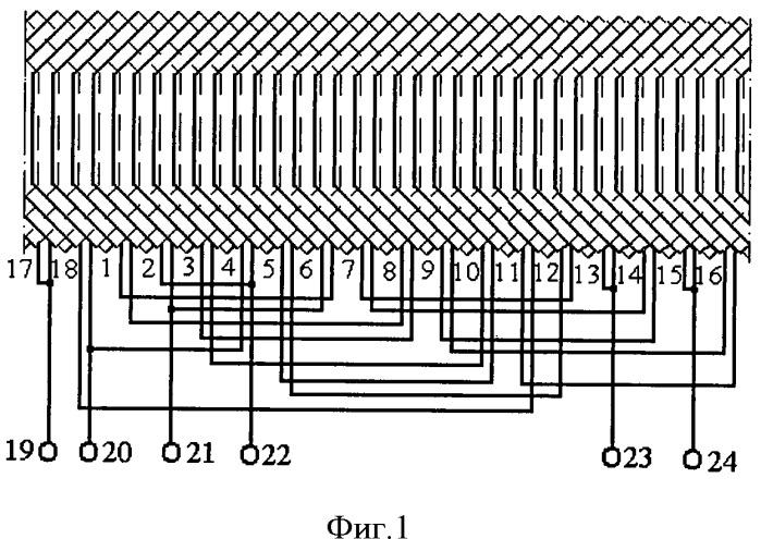 Шестиполюсная статорная обмотка асинхронного двигателя