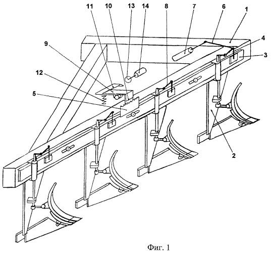 Плуг с регулируемыми параметрами лемешно-отвальной поверхности рабочих органов