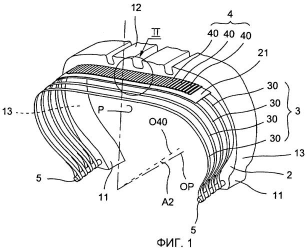 Пневматическая шина, в которой используется усилительная конструкция с волокнами, имеющими приплюснутое сечение