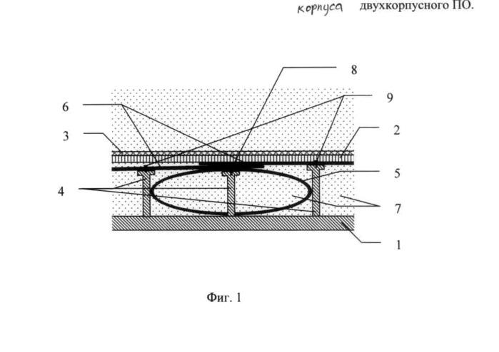 Способ и устройство заделки пробоины корпуса двухкорпусного подводного объекта