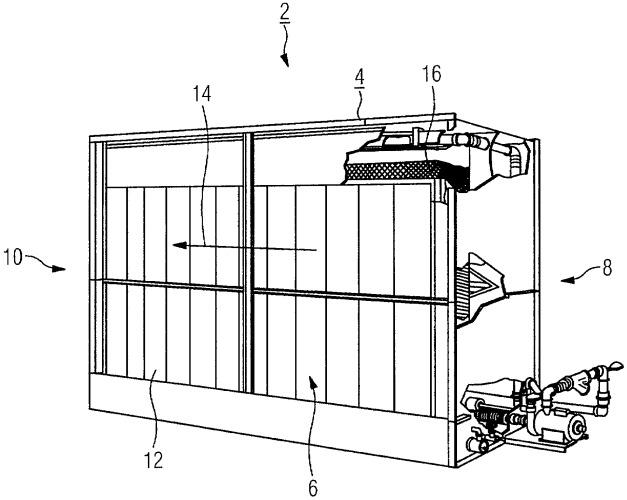 Испарительный охладитель и его применение, а также газотурбинная установка с испарительным охладителем