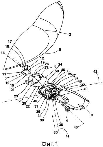 Устройство крепления рукоятки на изделии, относящемся к кухонной посуде, с кожухом защиты от брызг