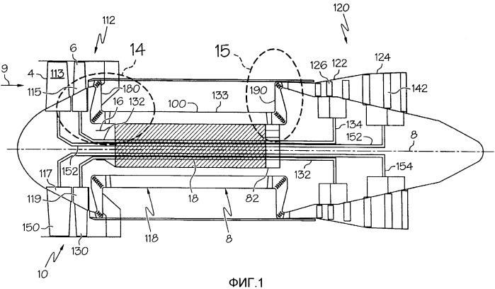 Газотурбинный двигатель с вентиляторами противоположного вращения, имеющий шнековый газогенератор с положительным смещением осевого потока