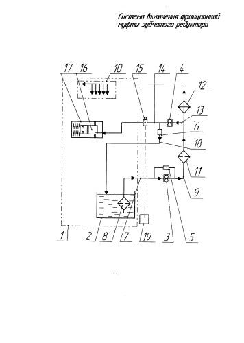 Система включения фрикционной муфты зубчатого редуктора