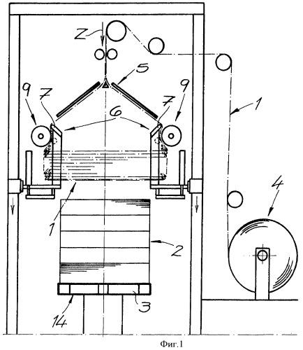 Устройство для обтягивания рукавной пленкой или пленочной оболочкой комплекта товаров