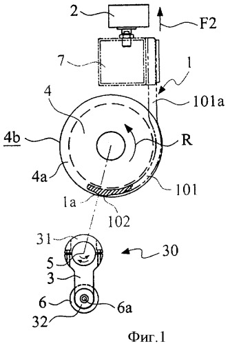 Намоточное устройство и способ отрыва рулонного материала с помощью планетарного валика