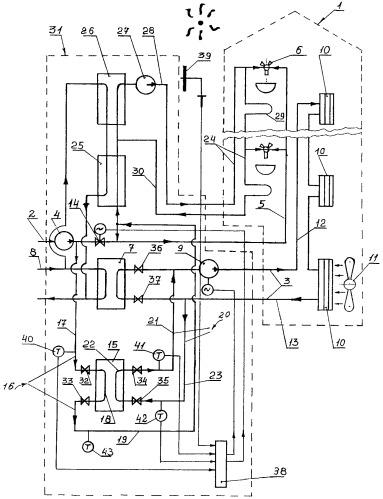Способ охлаждения воздуха в здании и система для его реализации