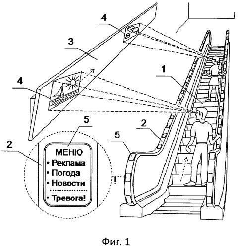 Пассажирский конвейер с возможностью представления преимущественно визуальной информации