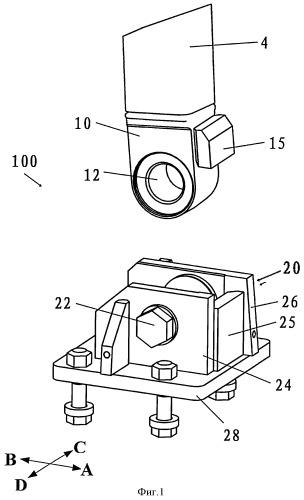 Устройство шарнирного соединения для кабины машины