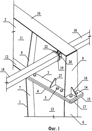 Карнизный узел металлического рамного каркаса быстровозводимого здания